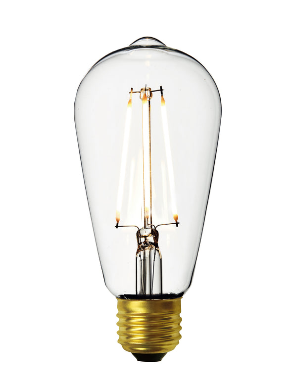 Vintage LED Edison Bulb Old Filament Lamp - 7W E27 Pear ST64 - Clear