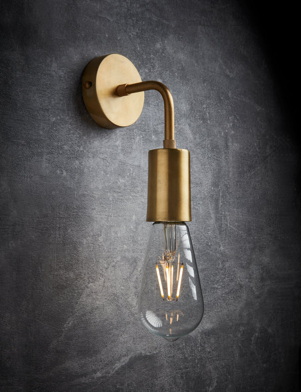 Vintage Sleek Brass Edison Wall Light by Industville