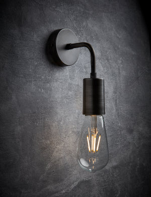 Vintage Sleek Pewter Edison Wall Light by Industville