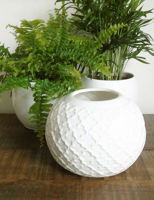 White Ceramic Moroccan Textured planter