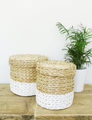 White Dipped Straw Storage Baskets | Buy Stylish Homeware | The Den & Now