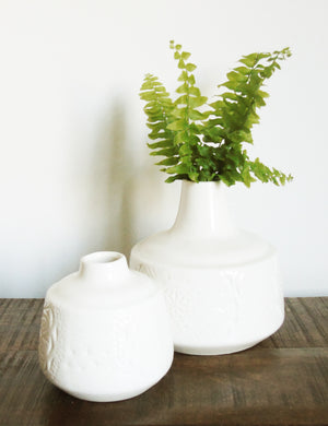 White Engraved Ceramic Vase