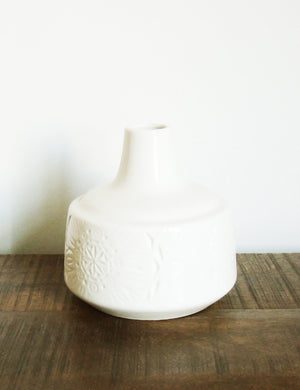 White Engraved Ceramic Vase - Large