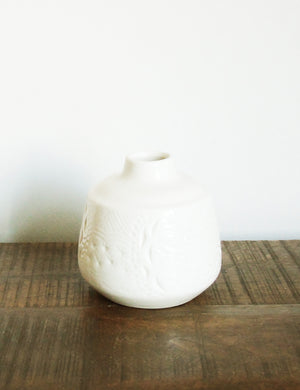 White Engraved Ceramic Vase - Small