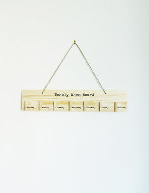 Wooden Weekly Memo Board
