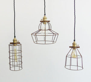 Simple Industrial Wire Cage Pendant Ceiling Light | The Den & Now