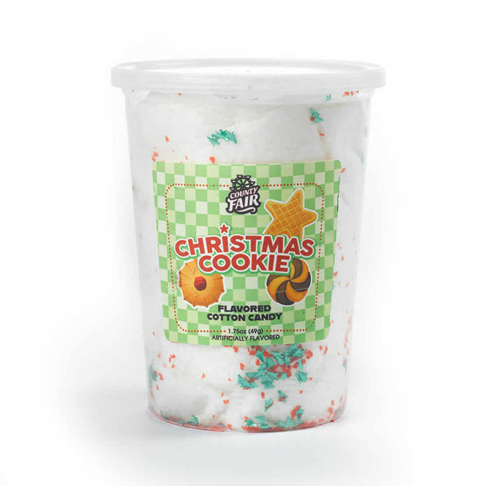 Christmas Cookie Cotton Candy with Sprinkles (Set of 6 tubs)