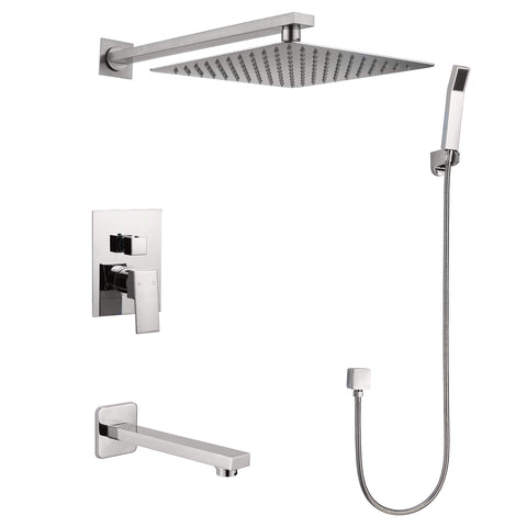 Narmada 9184 3-Function Shower System with Shower Head, Hand shower, Tub Spout and Valve Trim. Rough-in Included