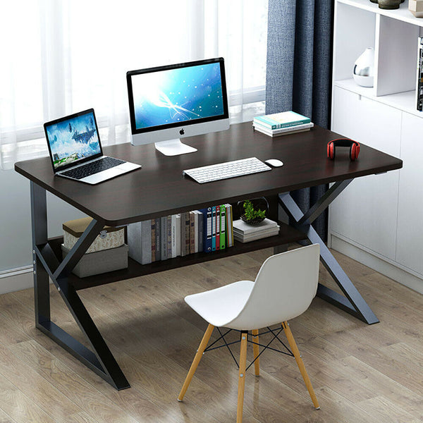 Home Workstation Office Desk Furniture with Bookcase Shelf