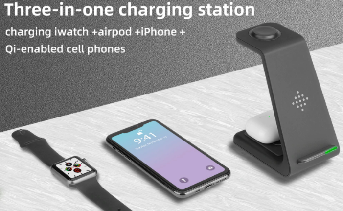 3-in-1 Wireless Charging Station For Apple and Samsung Products