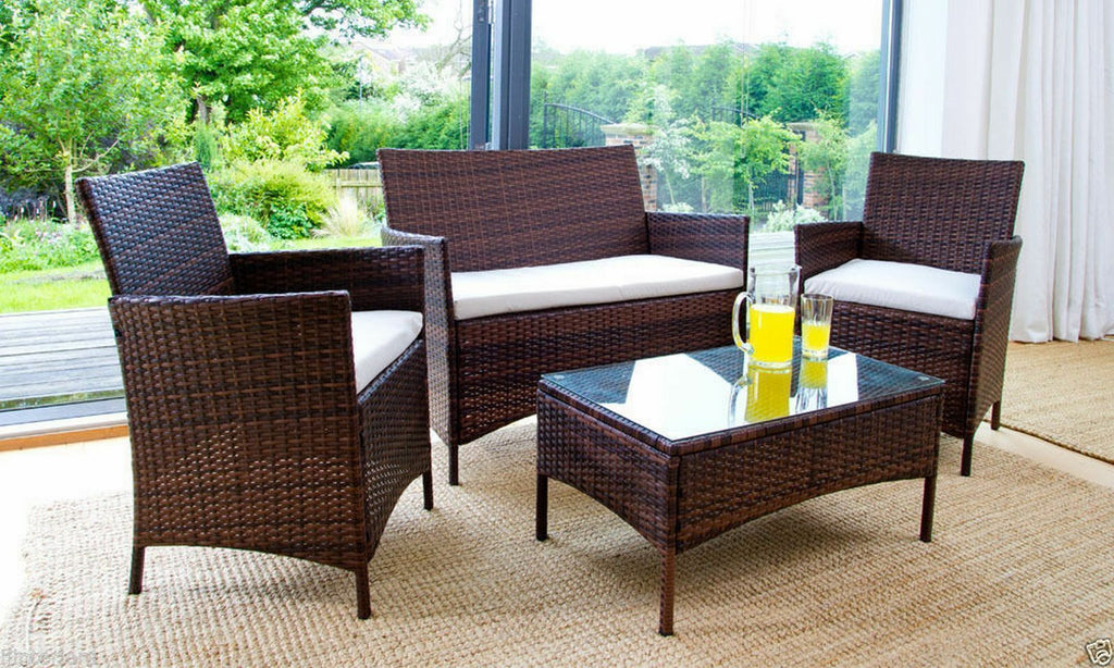 4Pc Rattan Garden Furniture Set For Outdoor Patio