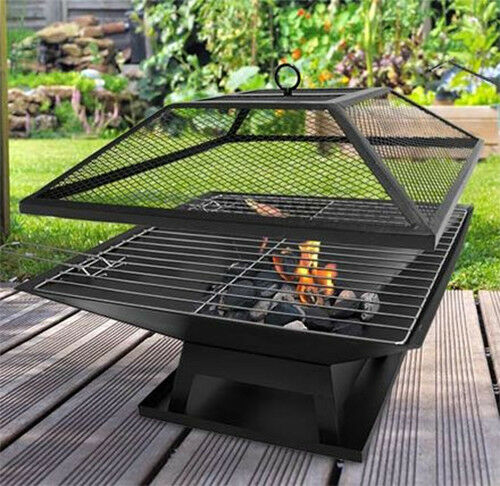Portable Square Fire Pit/Fire Place with BBQ Grill