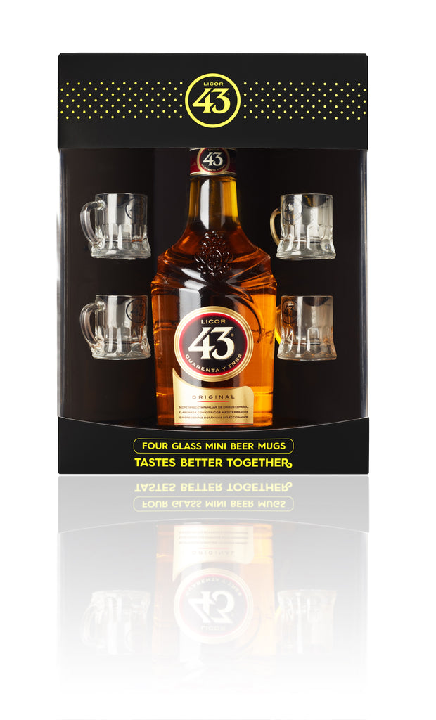 Licor 43 Liqueur Four Glass Mini Beer Mugs Gift Pack 700ml