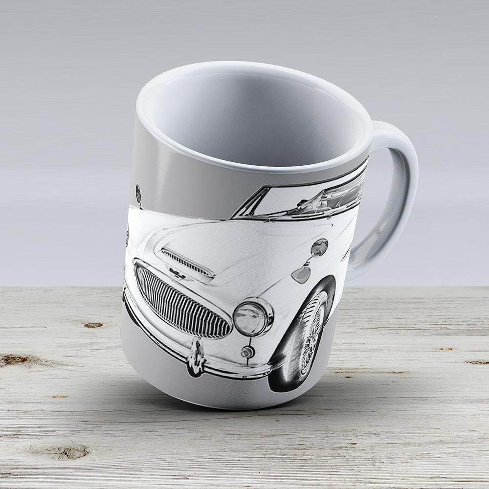 Austin Healey 300 Sports Car Drawing - Ceramic Coffee Mug - Gift Idea For Family And Friends