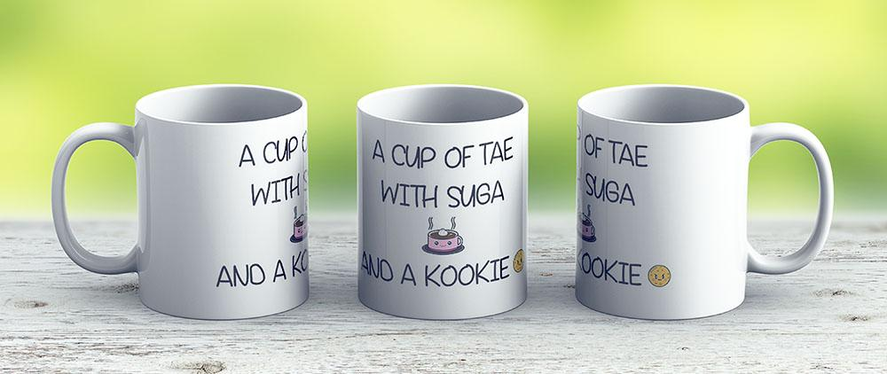 Bts A Cup Of Tae With Suga And A Kookie Tshirt Hoodie Mug Bag Case - Ceramic Coffee Mug - Gift Idea For Family And Friends