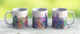Cardiff Skyline In Watercolor Background - Ceramic Coffee Mug - Gift Idea For Family And Friends