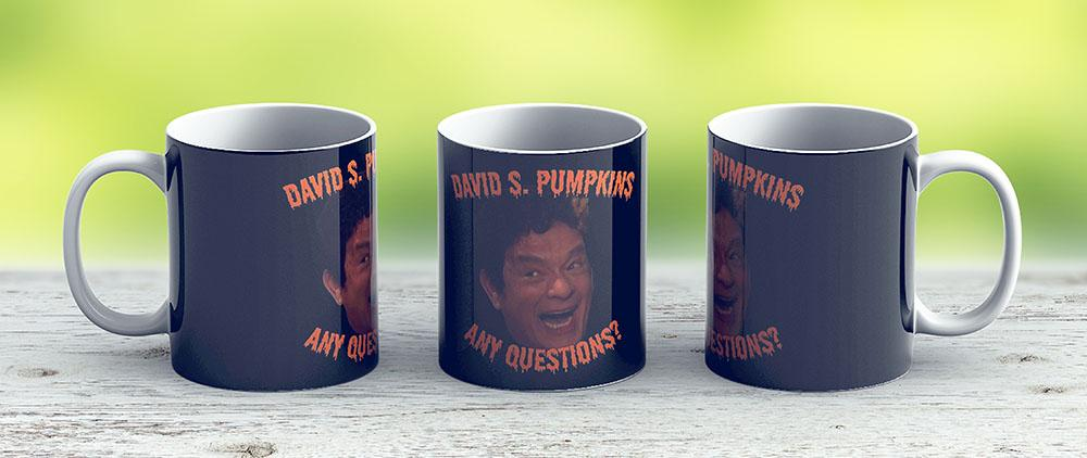 David S Pumpkins - Any Questions - Black - Ceramic Coffee Mug - Gift Idea For Family And Friends