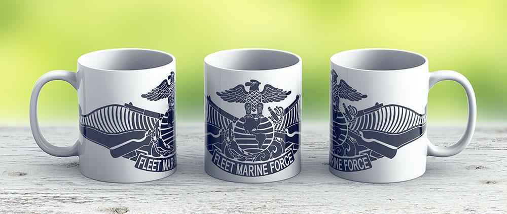 Fleet Marine Force Stencil - Ceramic Coffee Mug - Gift Idea For Family And Friends
