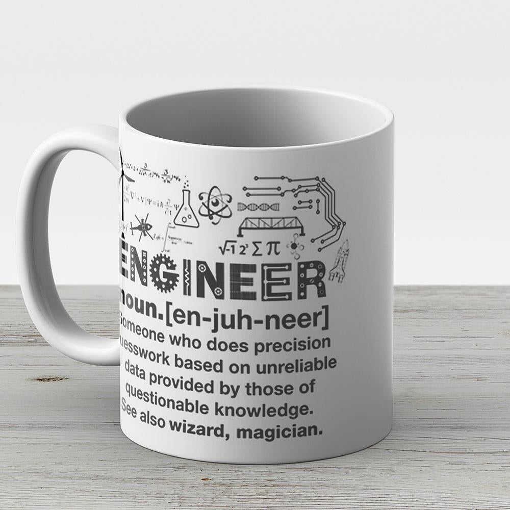 Funny Definition Of An Engineer - Ceramic Coffee Mug - Gift Idea For Family And Friends