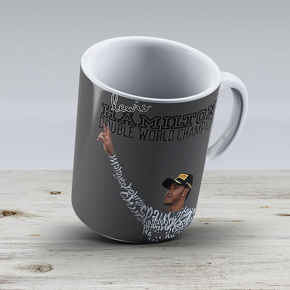 Lewis Hamilton Double World Champion - Ceramic Coffee Mug - Gift Idea For Family And Friends