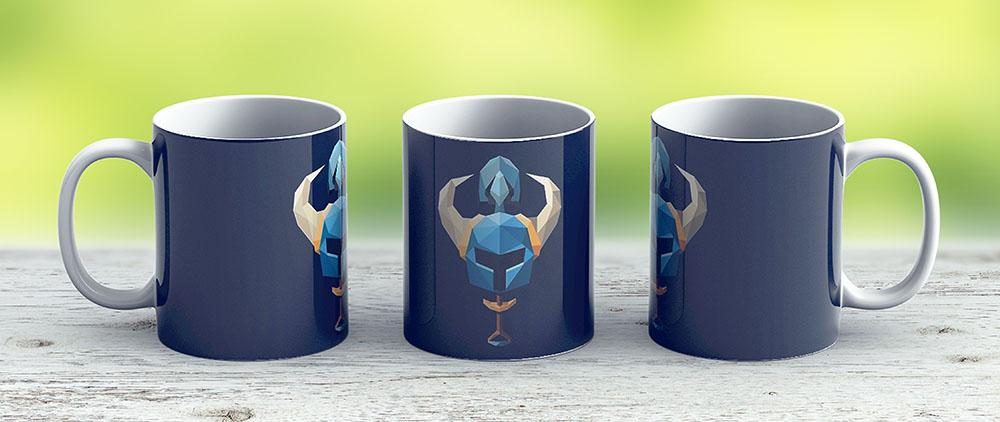 Low-Poly Shovel Knight - Ceramic Coffee Mug - Gift Idea For Family And Friends