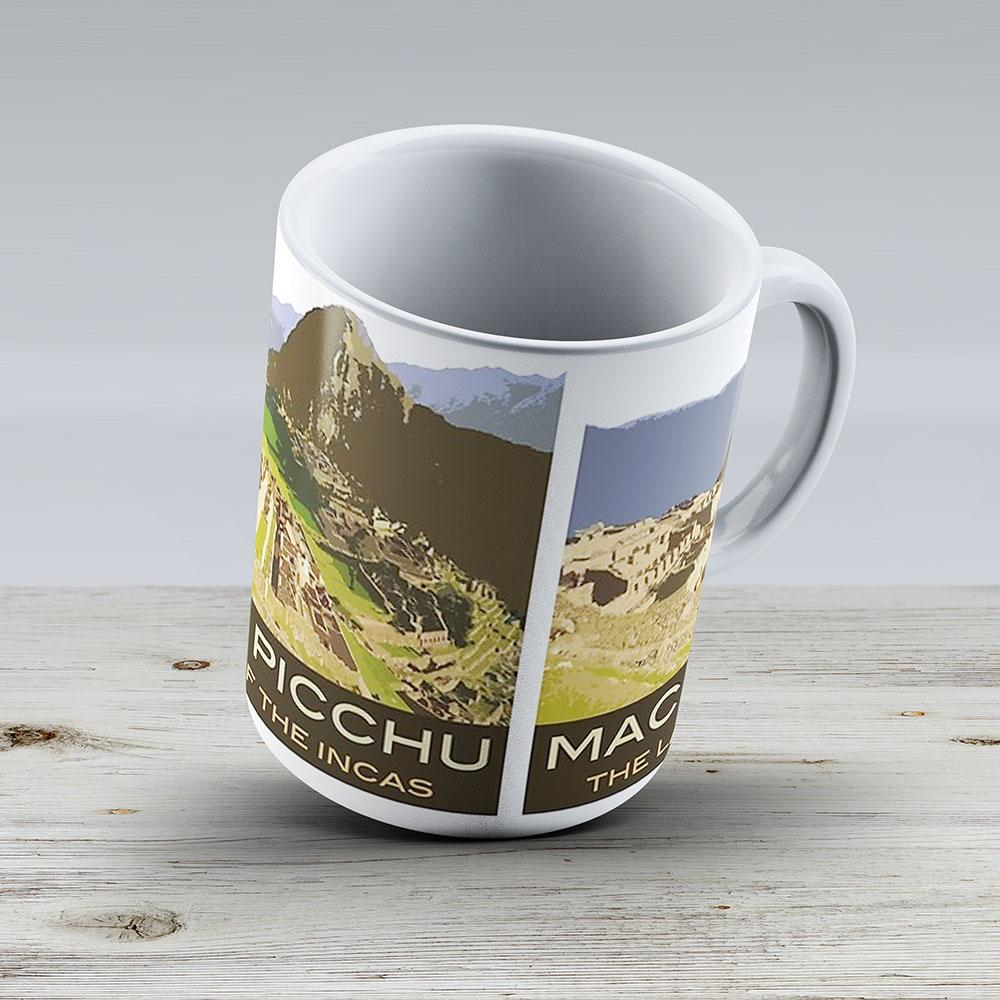 Machu Picchu Souvenir Mug In Style Of Vintage Travel Poster - Ceramic Coffee Mug - Gift Idea For Family And Friends