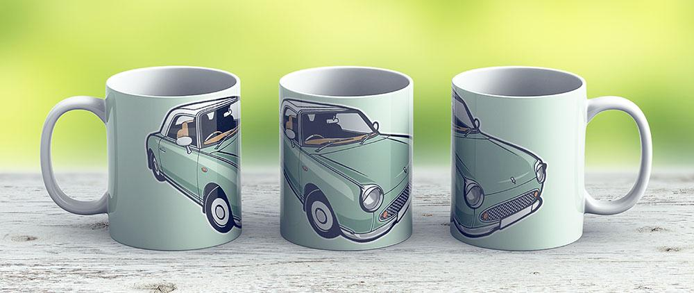 Nissan Figaro - Emerald Green - Ceramic Coffee Mug - Gift Idea For Family And Friends