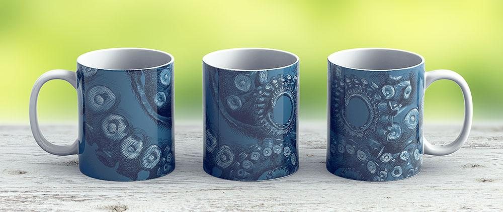 Octopus Tentacle Two-Tone Drawing - Ceramic Coffee Mug - Gift Idea For Family And Friends