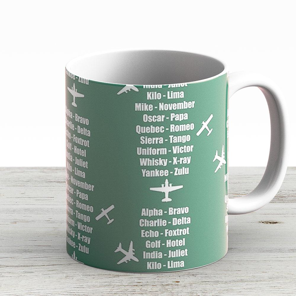 Pilot Phonetic Alphabet Military Cadet Airplanes - Ceramic Coffee Mug - Gift Idea For Family And Friends