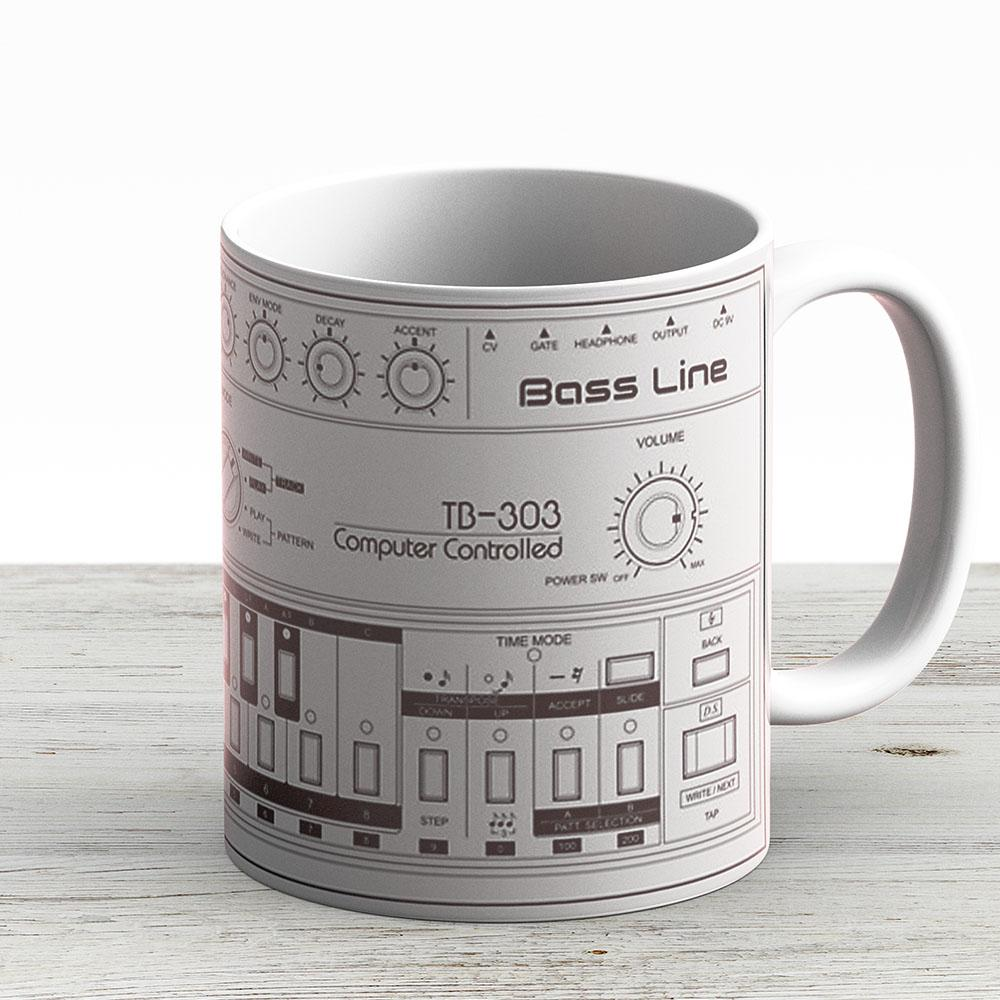 Roland Tb-303 Bass Line Wireframe - Ceramic Coffee Mug - Gift Idea For Family And Friends