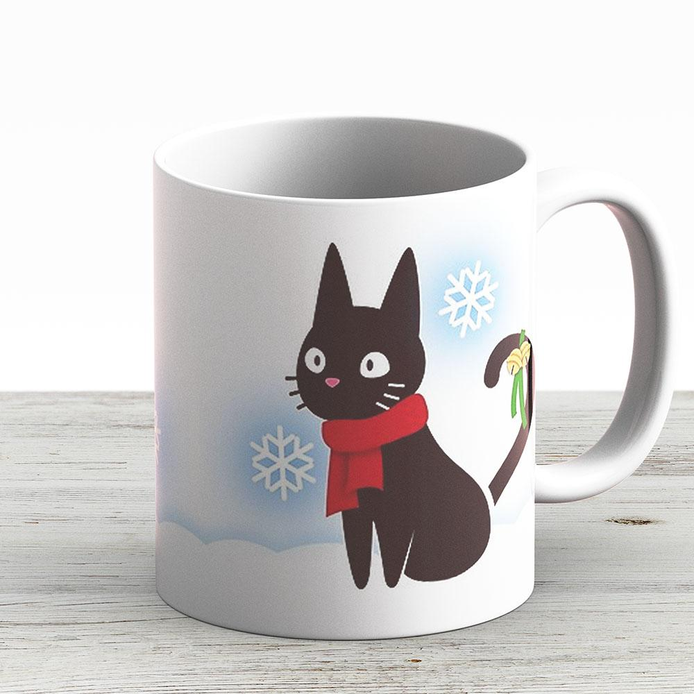 Seasonal Jiji Mug - Winter - Ceramic Coffee Mug - Gift Idea For Family And Friends