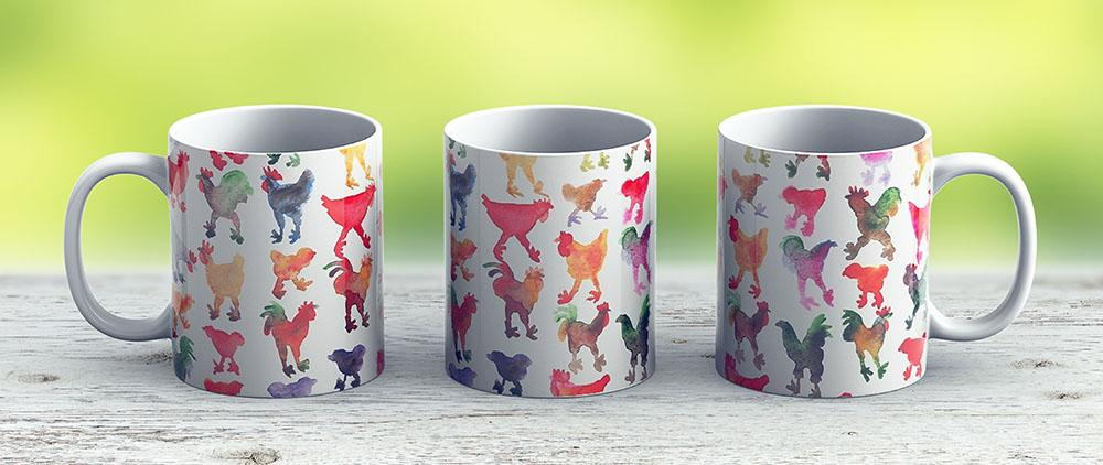 Tie Dye Chickens In Lines 1 - Ceramic Coffee Mug - Gift Idea For Family And Friends
