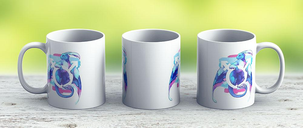 Transmasculine Pride Dragon - Ceramic Coffee Mug - Gift Idea For Family And Friends