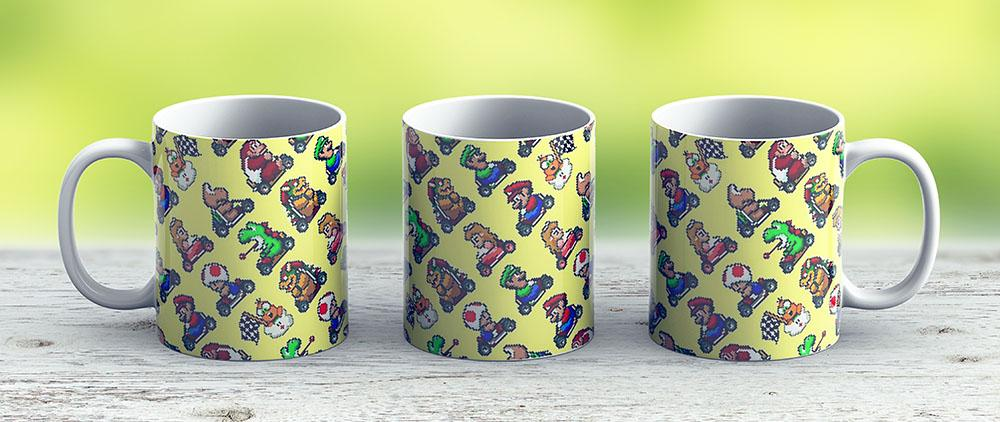 Various Super Mario Kart Characters Pattern Yl8R - Ceramic Coffee Mug - Gift Idea For Family And Friends