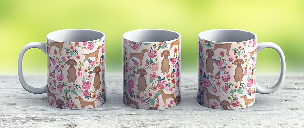 Vizsla Florals Dog Pattern Dog Gifts Dog Breeds Pet Portraits By Pet Friendly By Petfriendly - Ceramic Coffee Mug - Gift Idea For Family And Friends