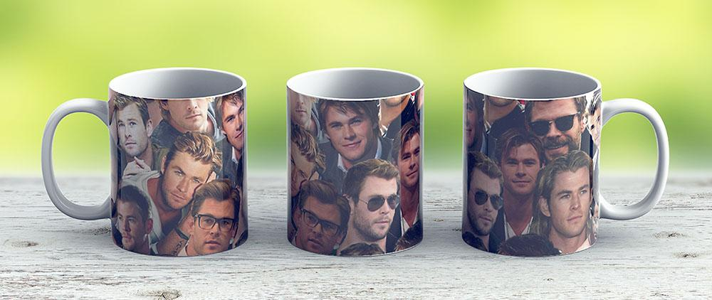 Chris Hemsworth Collage - Ceramic Coffee Mug - Gift Idea For Family And Friends