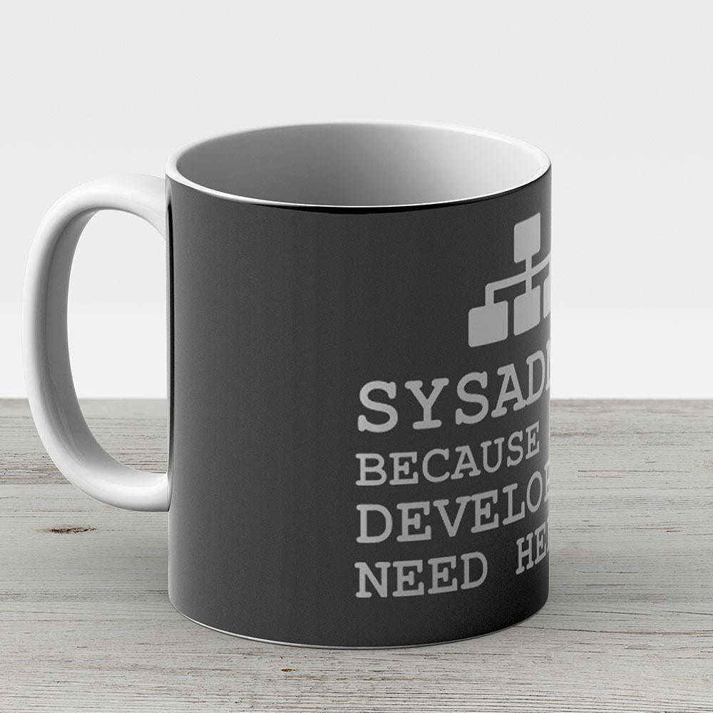 Sysadmin Heroes Black Edition - Ceramic Coffee Mug - Gift Idea For Family And Friends