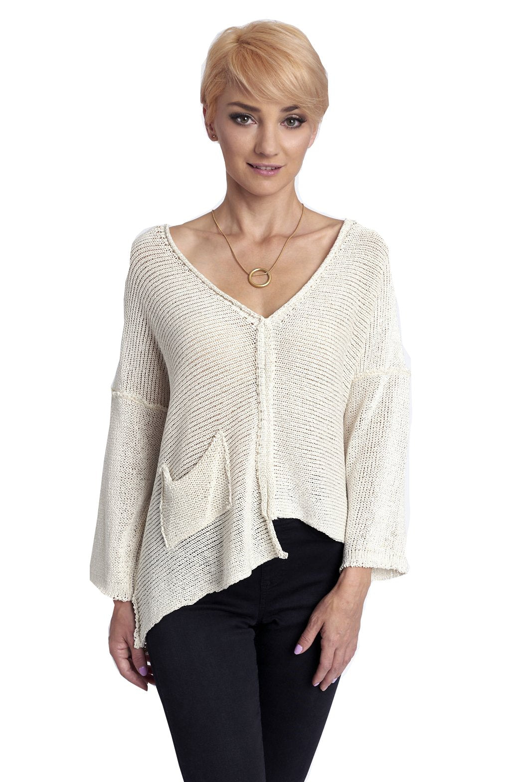 Cream Summer Sweater, V-Neck