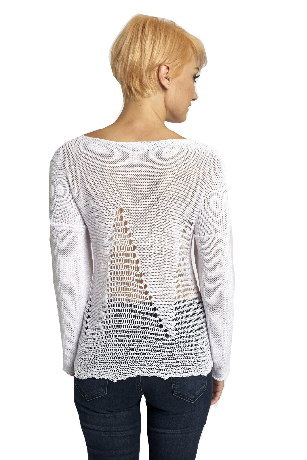 3148 Lightweight Sweater, White