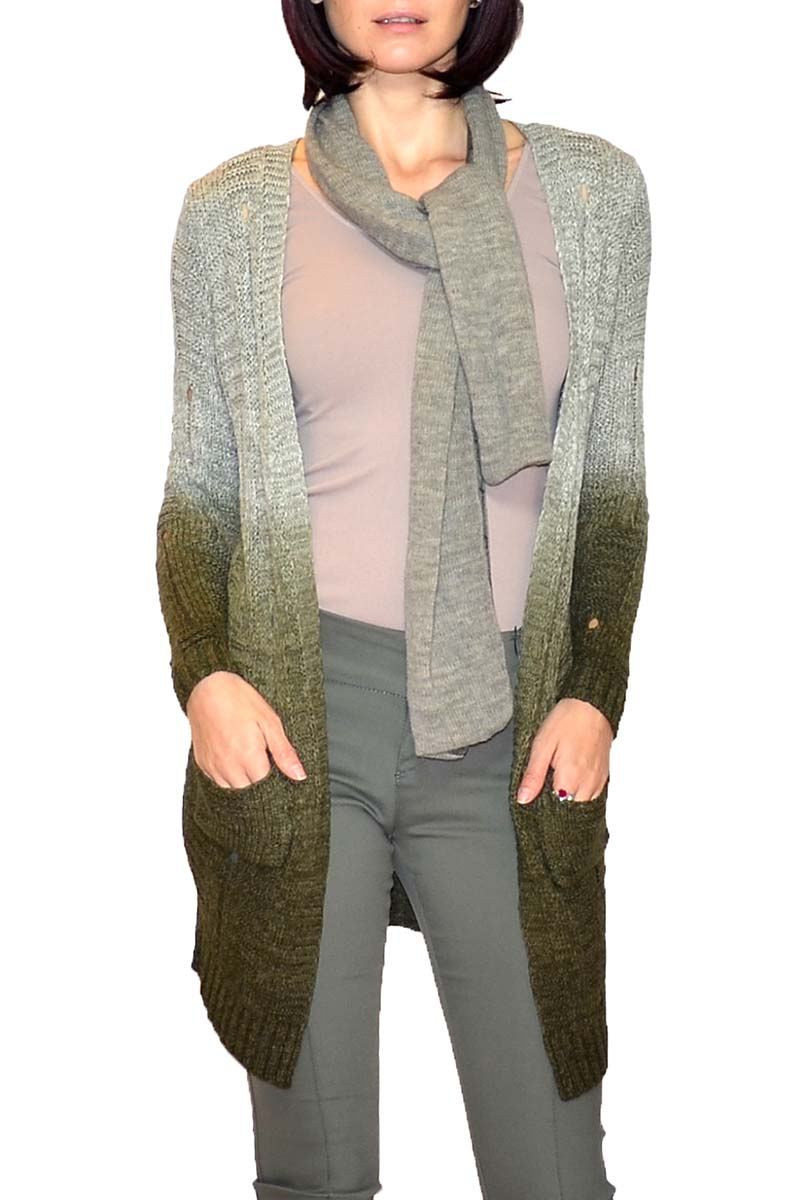 HW-101006 | Two-Tone Ombre Cardigan