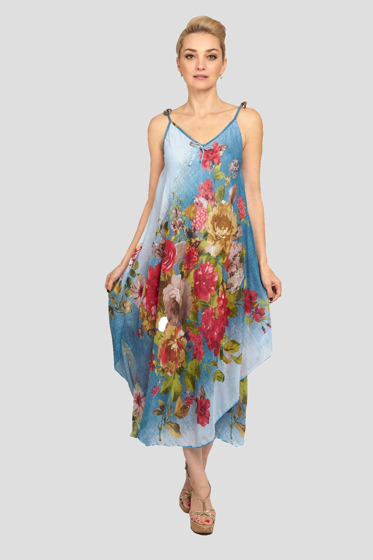 Blue Handkerchief Floral Dress
