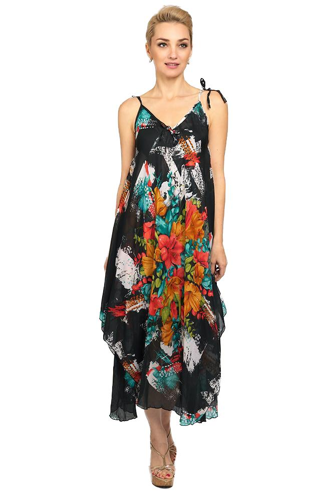 6153 Floral Black Handkerchief Dress