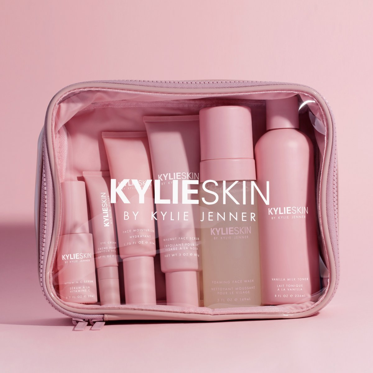 Kylie Skin Makeup Travel Bag with products by Kylie Jenner