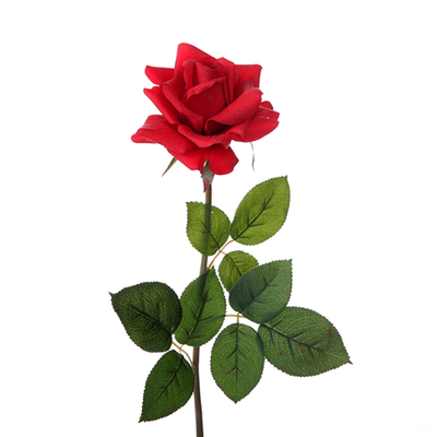 Real Touch Large Open Rose - 75cm (Red)