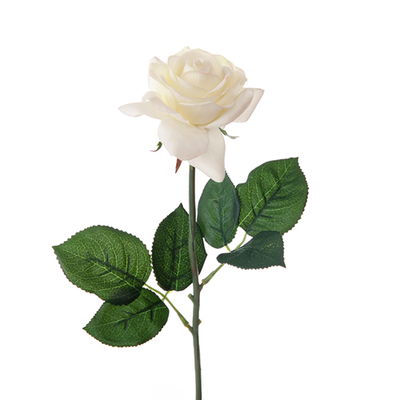 Real Touch Small Open Rose - 42cm (Ivory)