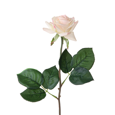 Real Touch Small Open Rose - 42cm (Cream with Touch of Pink)