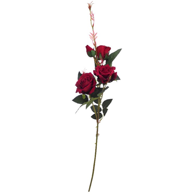 Premium Velvet Touch Rose Spray - 94cm (Dark Red)