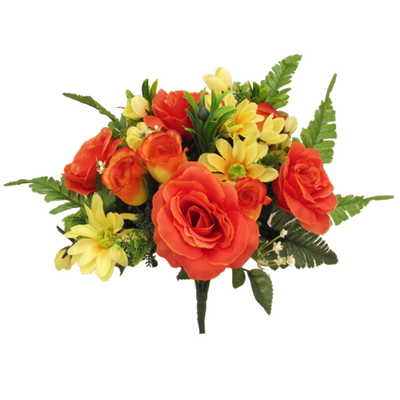 Large Rose Rosebud & Gerbera Bush - 38cm (Orange/Yellow)