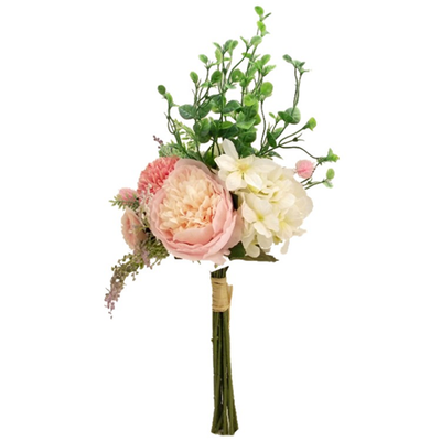 Luxury Mixed Flower Bouquet - 42cm (Pink/Ivory)