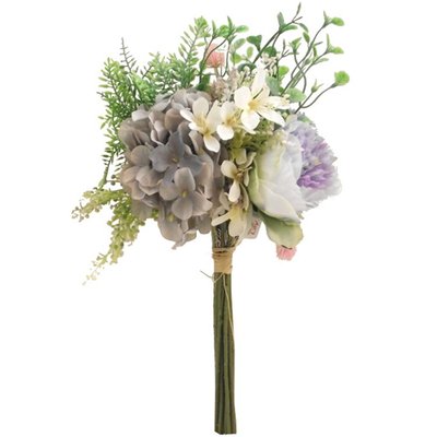 Luxury Mixed Flower Bouquet - 42cm (Ivory/Lilac)